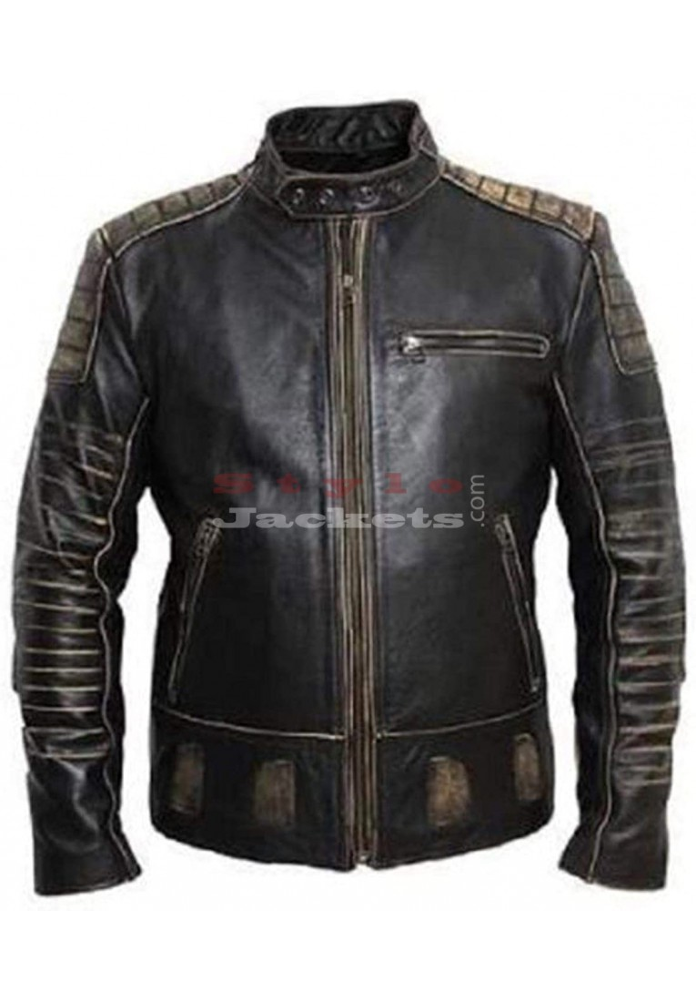 Men's Black Biker Vintage Leather Jacket