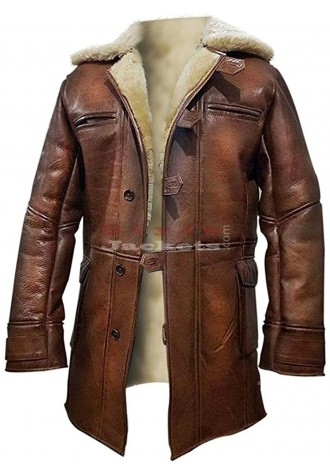 Tom Hardy Dark Knight Sheepskin Leather Bane Coat