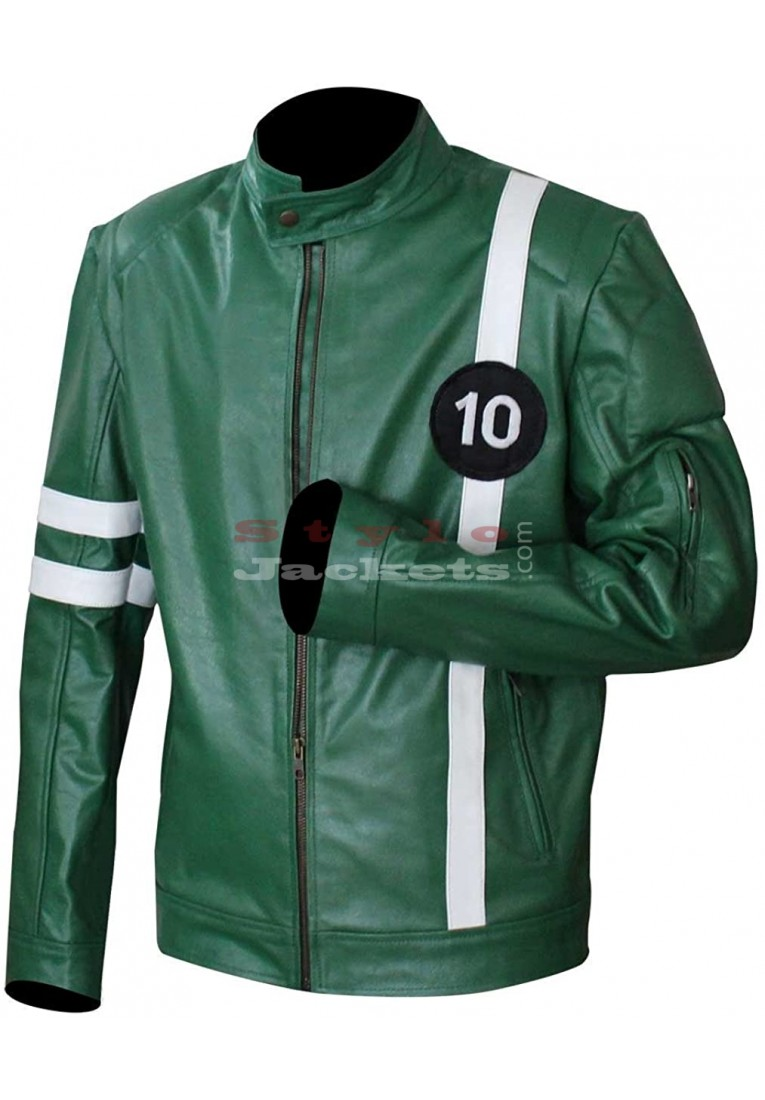 Ben 10 Ryan Kelley (Alien Swarm) Green Leather Jacket