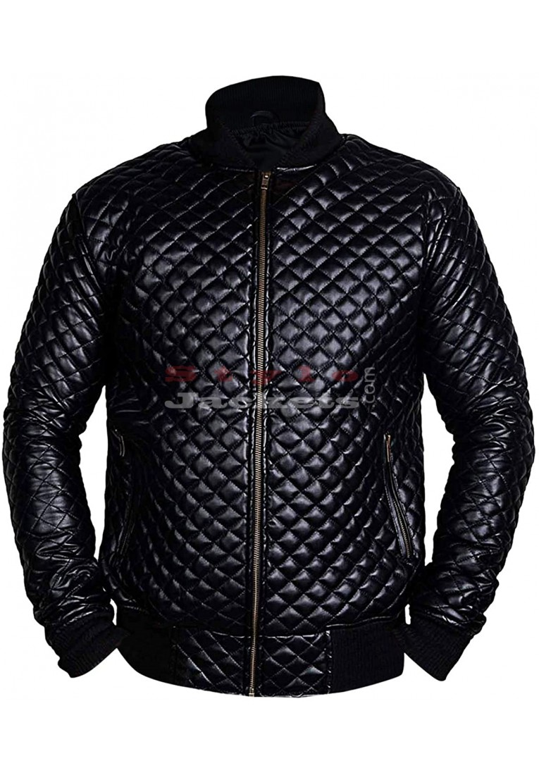 Mens Daimond Quilted Motorcycle Black Leather Jacket