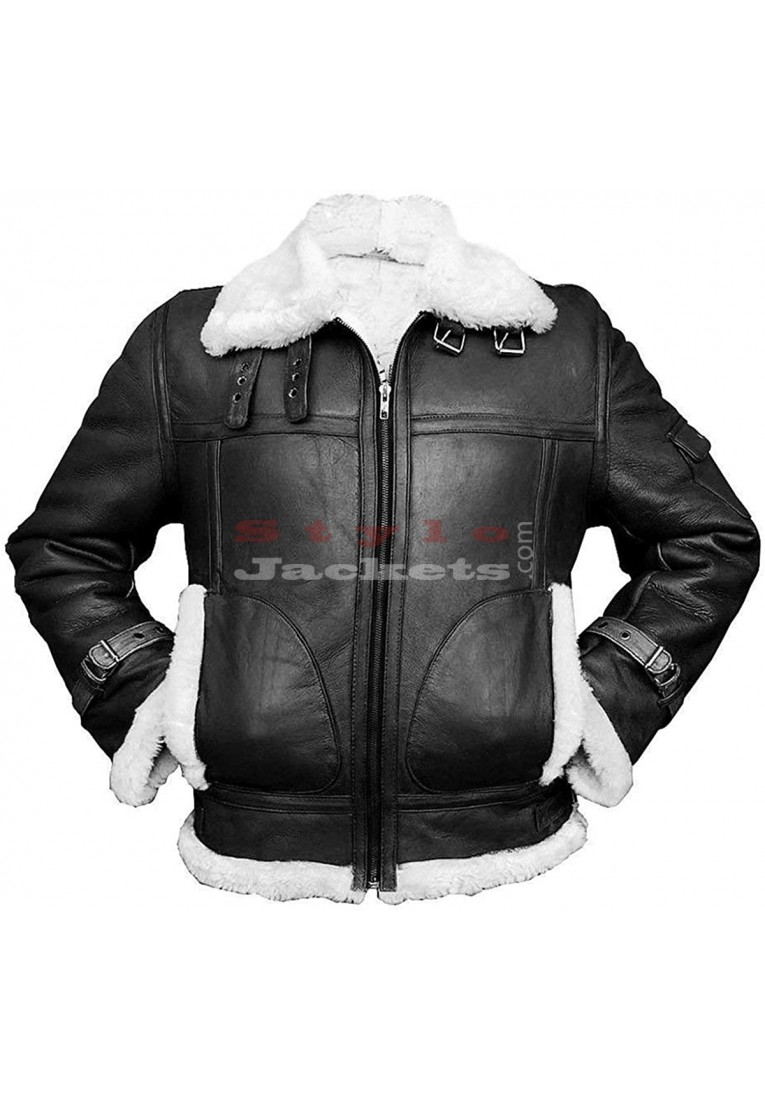 B3 Aviator Black Bomber Real Sheepskin Flight Leather Jacket