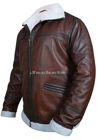 Mens Flight Pilot Fur Brown Faux Leather Jacket