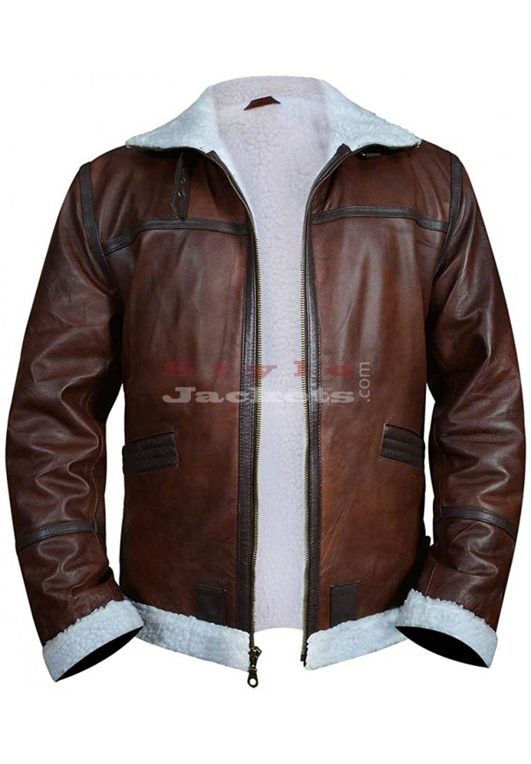 Mens Flight Pilot Fur Brown Faux Leather Jacket