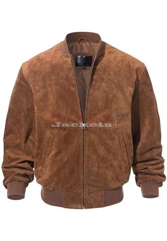 Men's Baseball Bomber Suede Leather Jacket