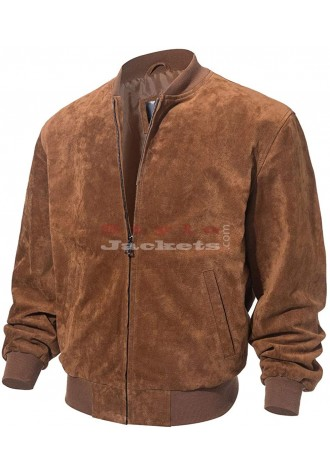 Men's Baseball Bomber Suede Leather Jacket
