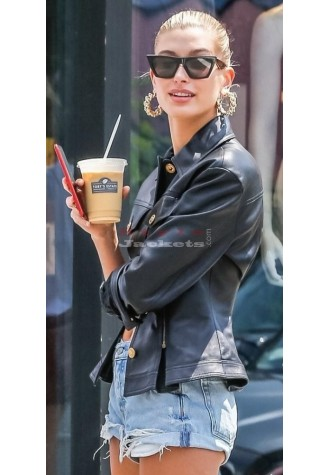 Hailey Rhode Baldwin Black Leather Jacket