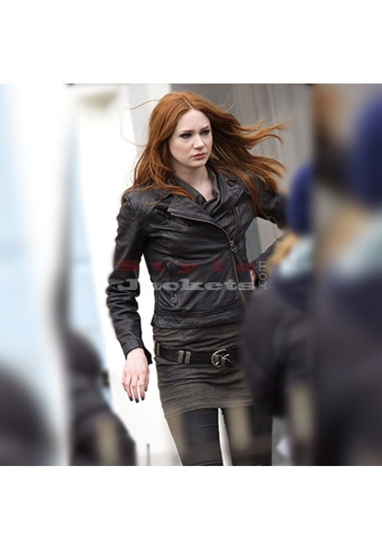 Doctor Who Amy Pond Black Leather Jacket
