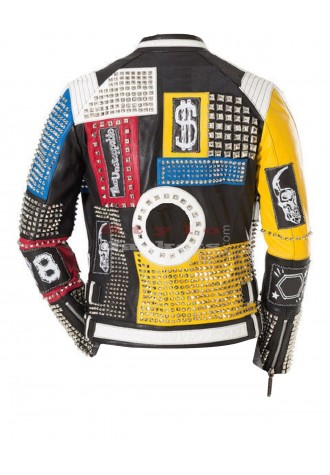 Philipp Plein Multicolor Studded Leather Jacket