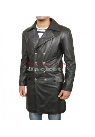70s Style Slim Fit Leather Coat