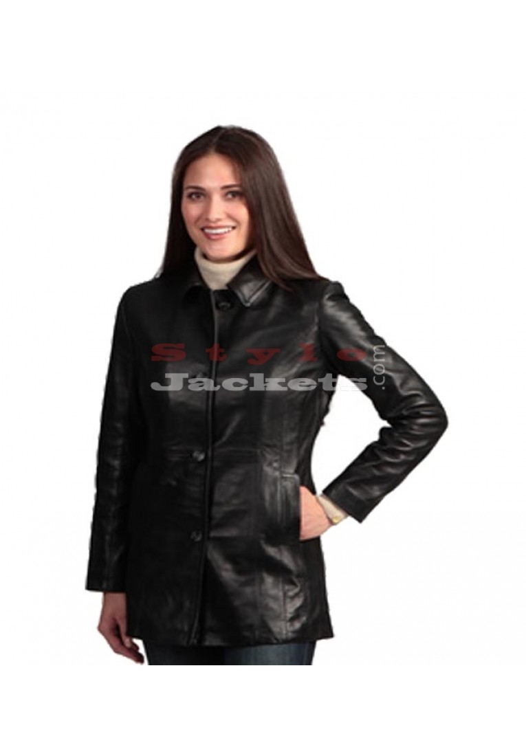Leather Ladies Blazer Coat