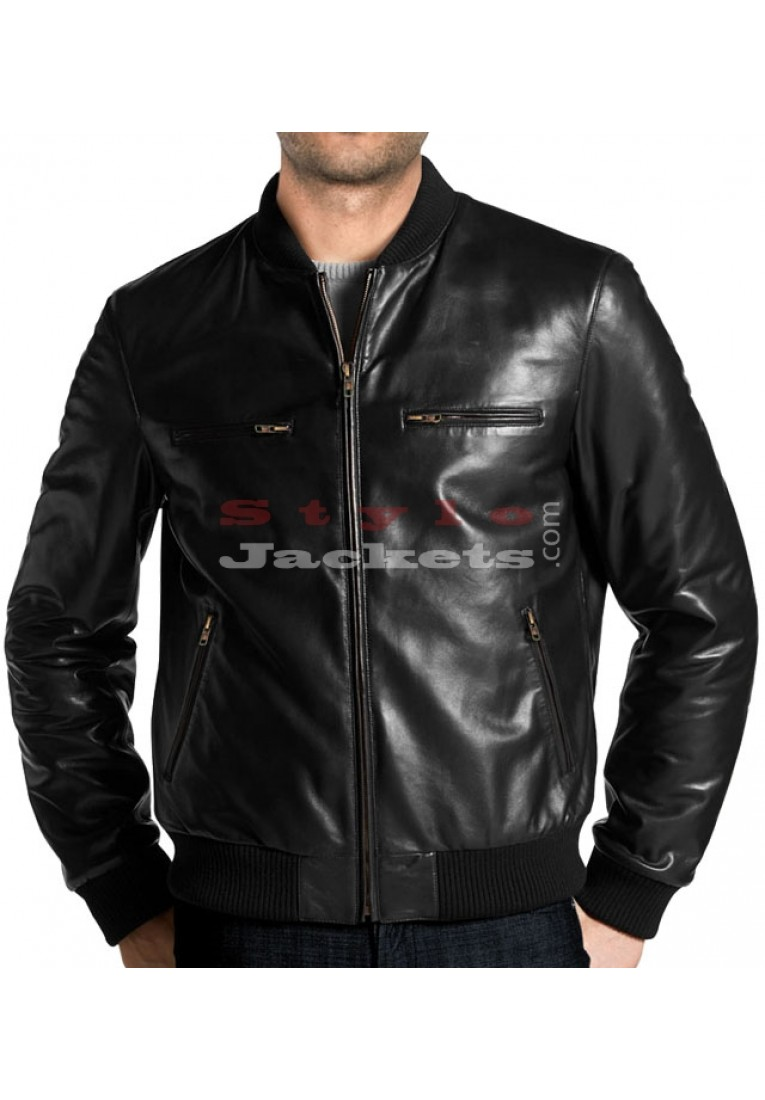 Elegant Leather Bomber Jacket