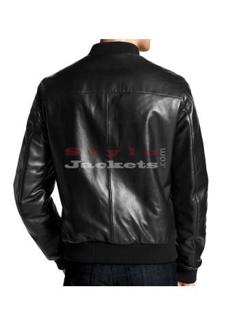 Elegant Leather Bomber Jacket