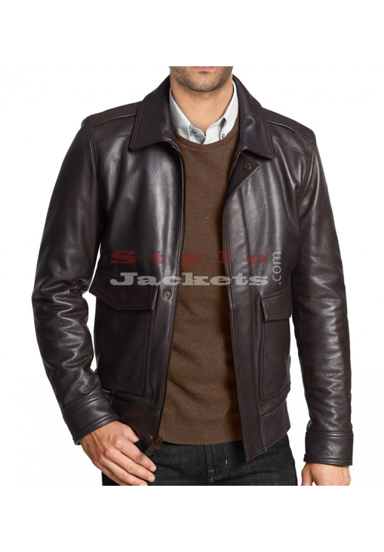 Fashionable Bomber Leather Jacket