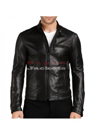 Stand Collar Bomber Slim Fit Jacket