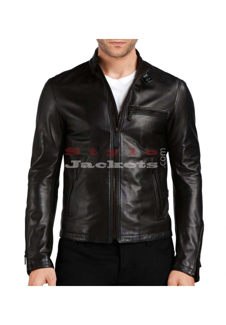 Stand Collar Slim Fit Leather Jacket
