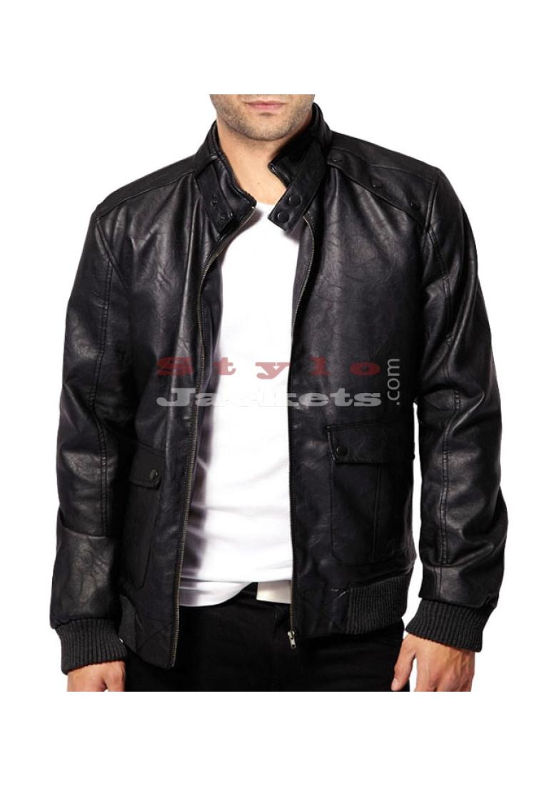 Stud Collar Men Leather Bomber