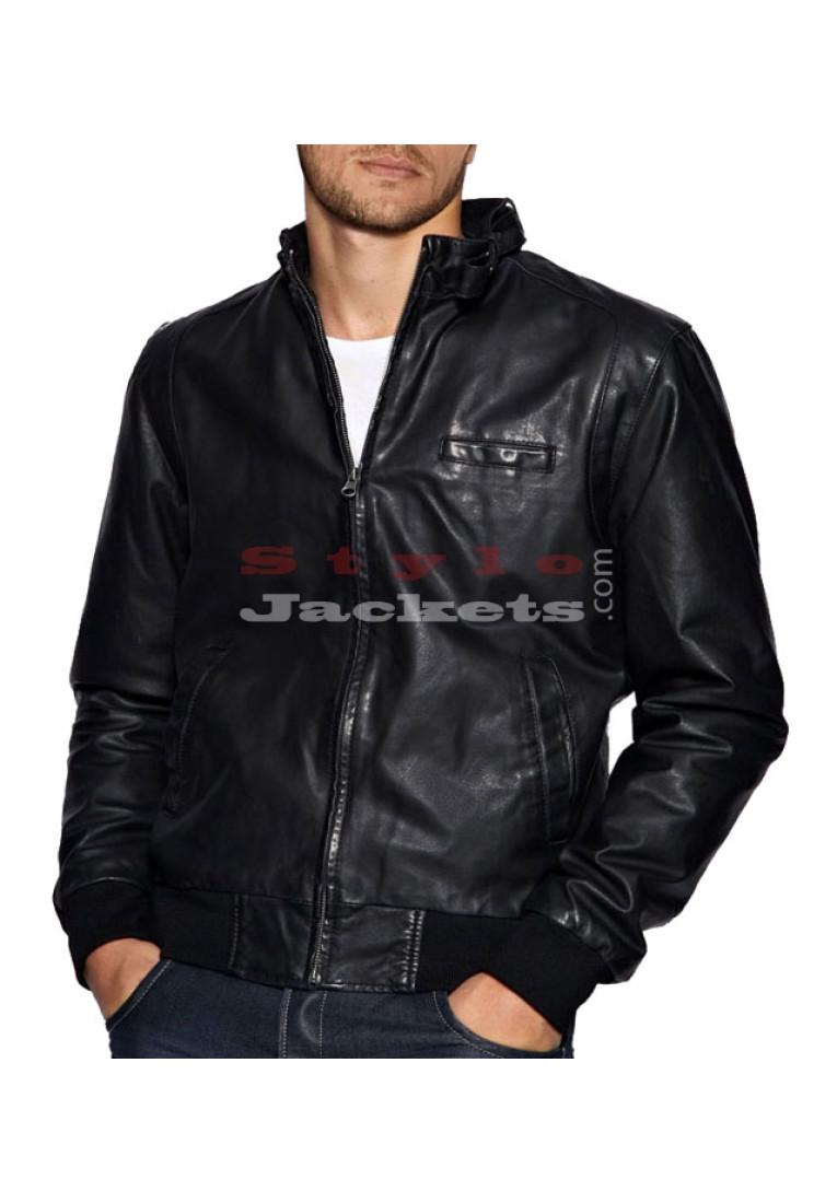 Stylish Men Leather Bomber Jacket