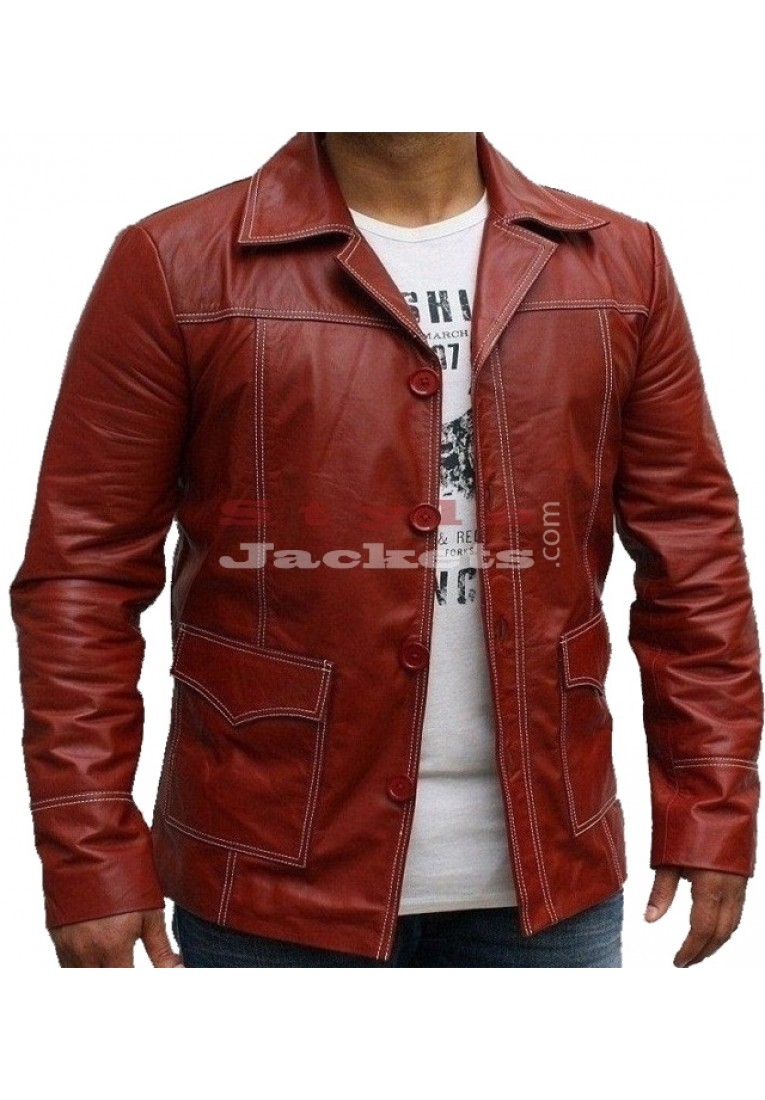 Fight Club Replica Red Movie Leather Jacket