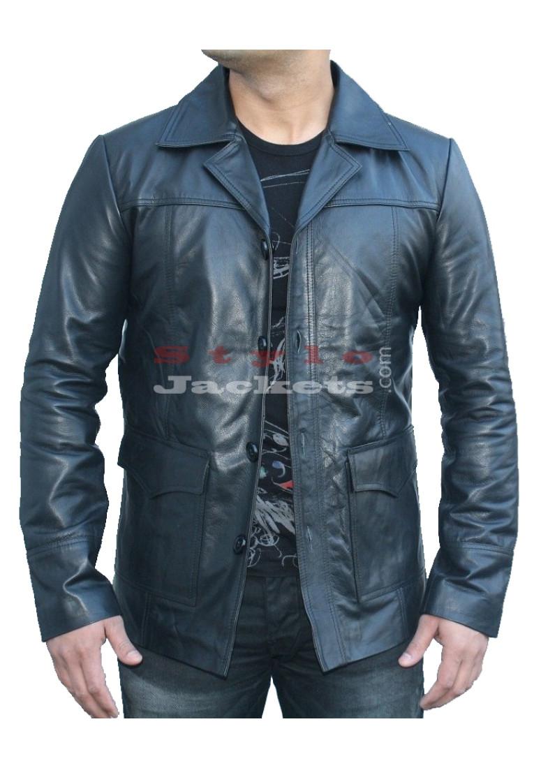 Fight Club Brad Pitt Black Movie Leather Coat
