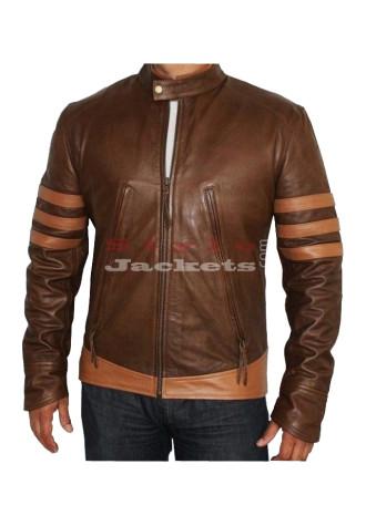 X - Men Origins Wolverine Brown Movie Leather Jacket