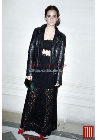 Emma Watson Celebrity Style Slim Fit Black Biker Jacket