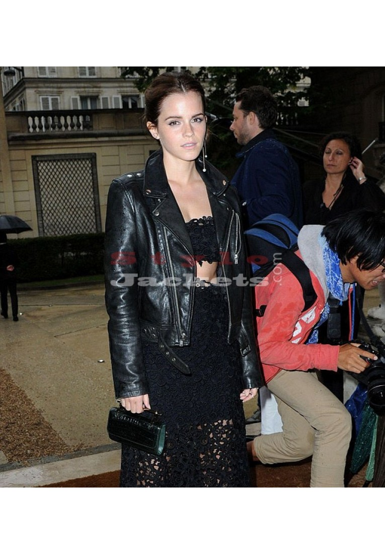 Emma Watson Celebrity Style Slim Fit Black Biker Jacket
