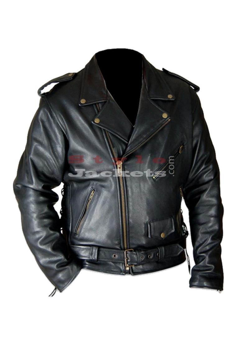 Classic Brando Biker Style Leather Jacket