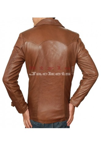 70's Style Collar Vintage Leather Jacket