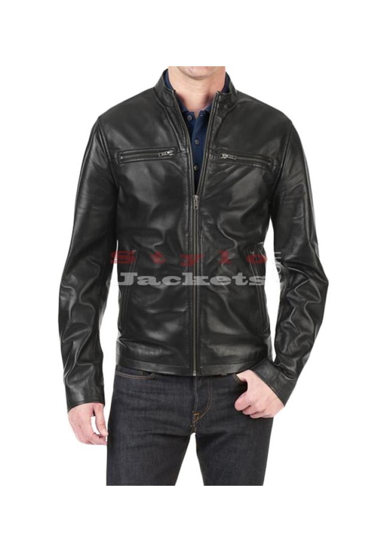 Stefan Slim Fit Moto Leather Jacket