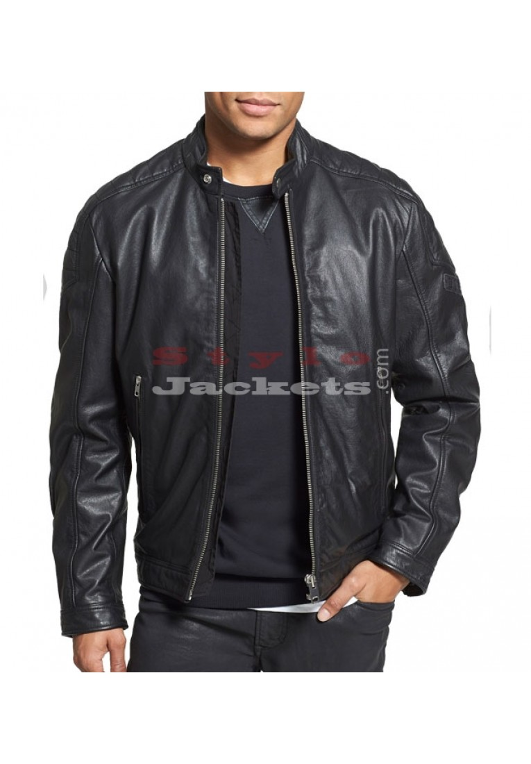 Black Leather Slim Fit Moto Biker's Jacket