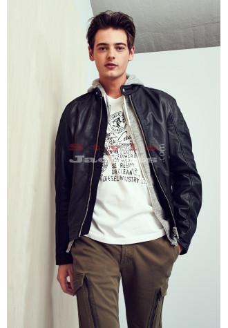 Black Leather Slim Fit Moto Biker's Jacket