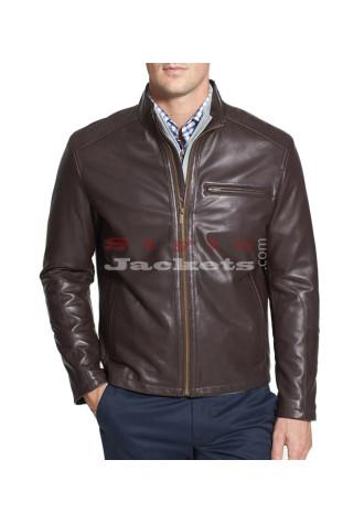 Men's Moto Brown Leather Jacket