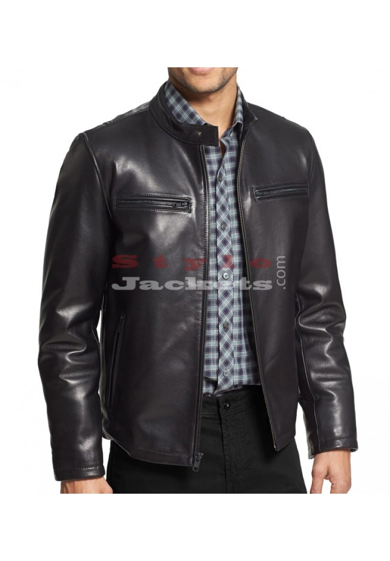 Men's Black Moto Bomber Leather Jacket