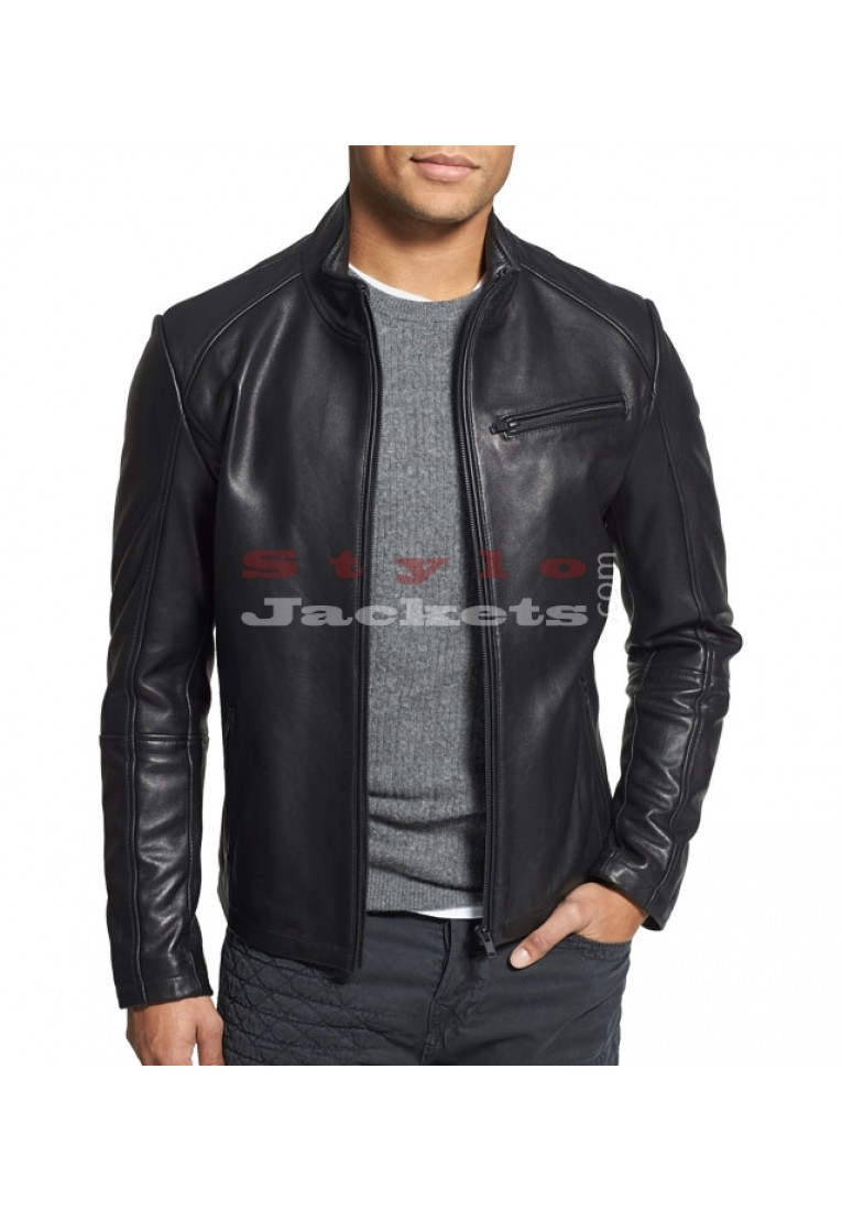 Bridge Black Leather Moto Jacket