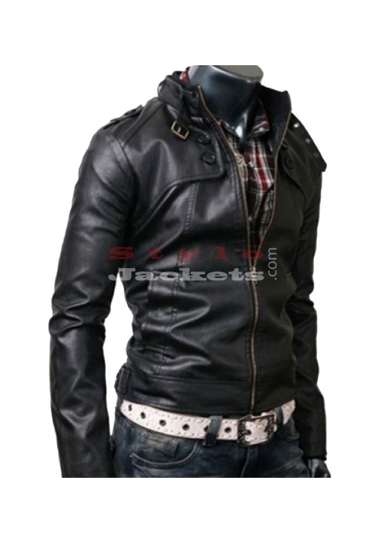 Rocker-Black Slim-Fit Leather Biker Jacket