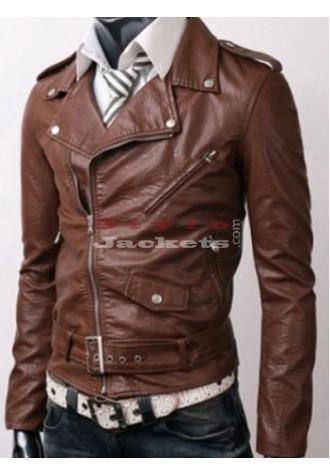 Brown Slim Fit Casual Bikers Jacket for men