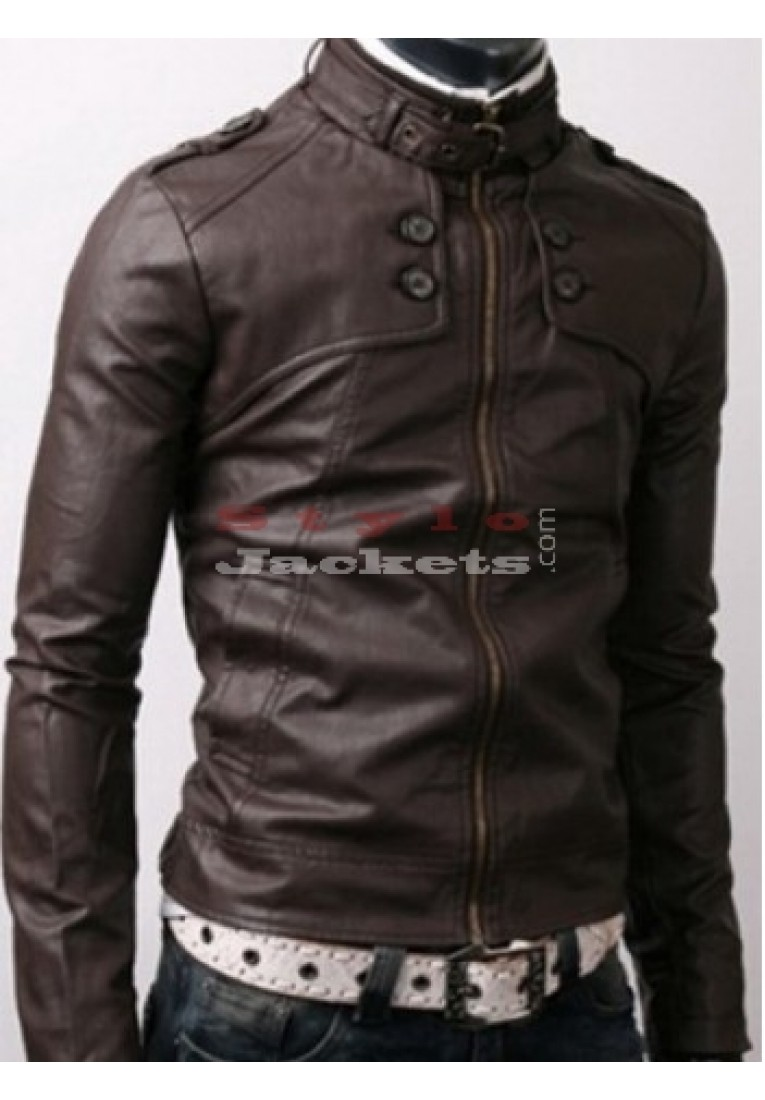 Dark Brown Rider Casual Slim Fit Leather Jacket