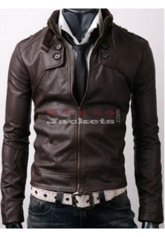 Dark Brown Rider Casual Slim Fit Leather Jacket
