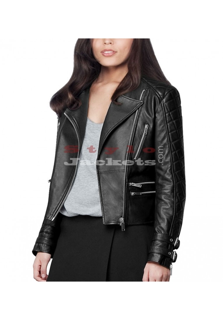 Back Buckle Strap Biker Jacket for Women