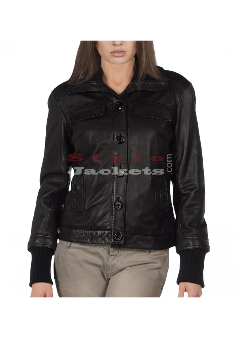 Plain Leather Bomber Jacket For Women