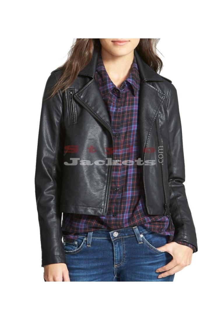 Vegan Ladies Moto Leather Jacket