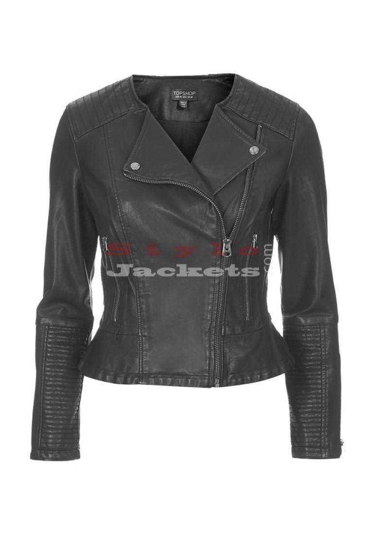 Woman Leather Biker Jacket
