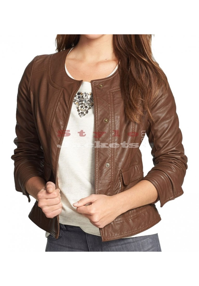 Snap Front Women's Brown Leather Jacket