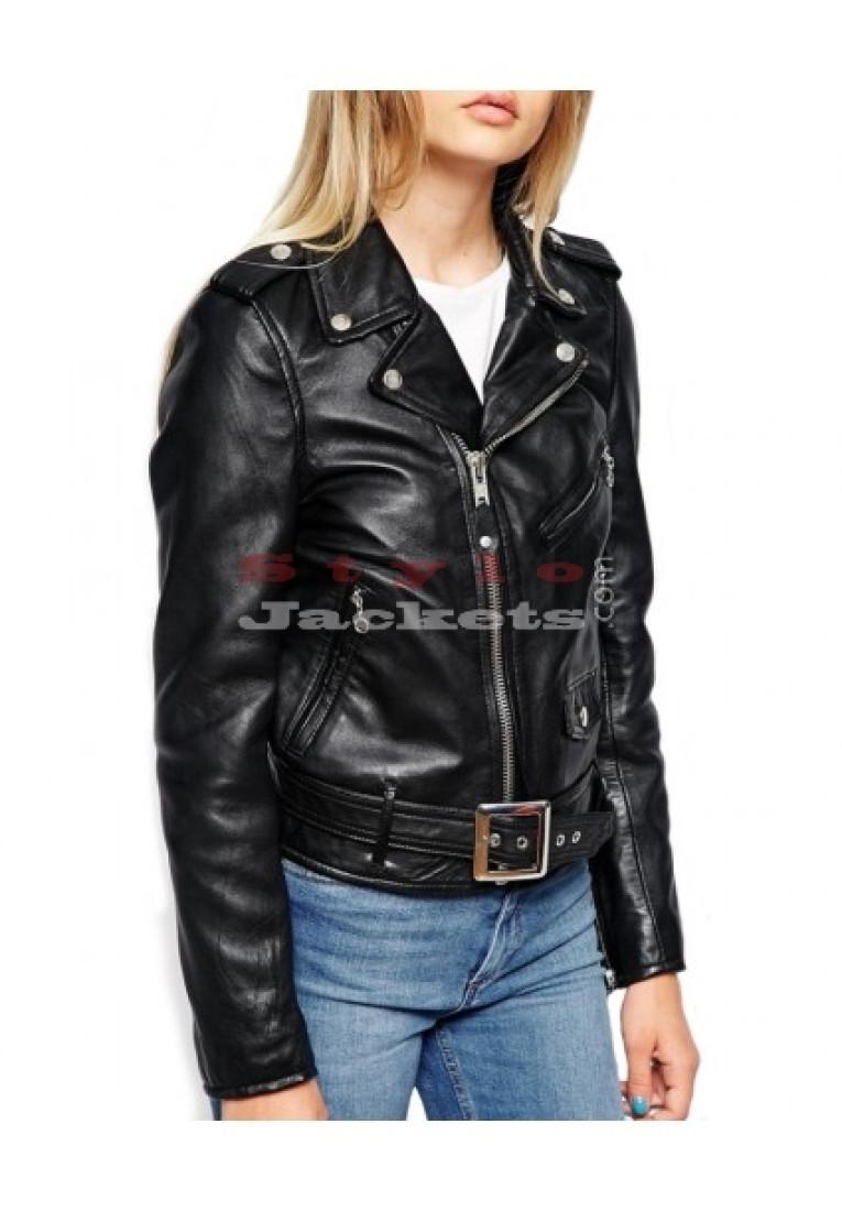 Women Bikers Leather Jacket