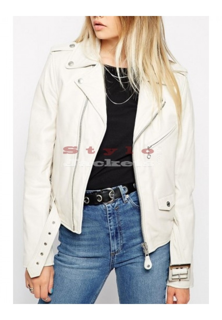 Women Zipper White Biker Jacket