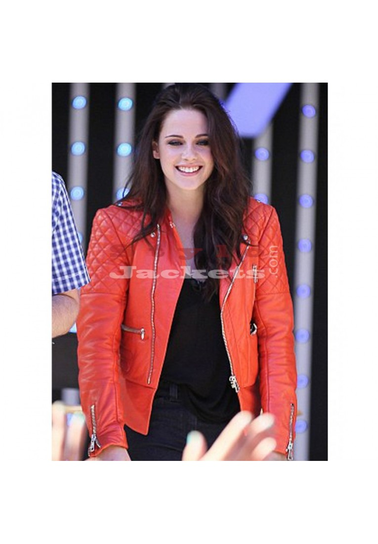 Kristen Stewart Red Leather Quilted Motorcycle Jacket