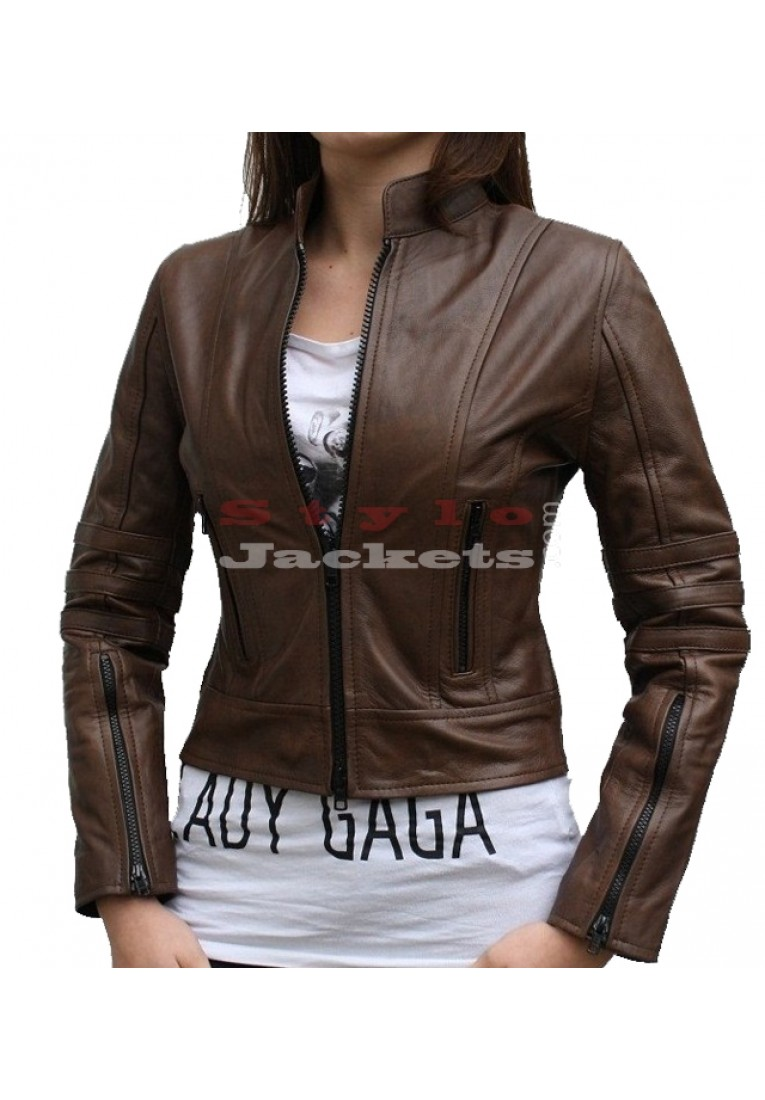 Dark Angel Women Leather Jacket Brown