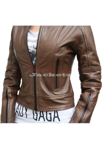 Dark Angel Women Leather Jacket Brown