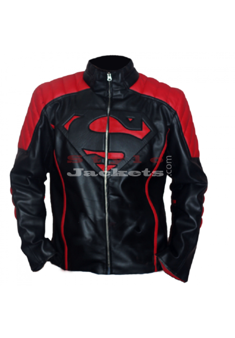 Superman New Style Black and Red Leather Jacket