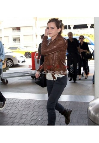 Emma Watson Celebrity Style Slim Fit Brown Biker Jacket